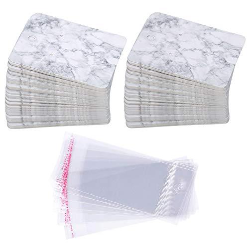 s Papier Ohrring Karten Set, 100 Stück Papier-Ohrring-Display-Karten mit 100 Stück Self-Seal Taschen,Kartenhalter Organizer DIY handgemachte Verpackung Karten (Marbling) ()