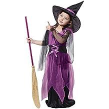 JT-Amigo Kinder Mädchen Hexen Kostüm für Halloween, Fasching, Karneval