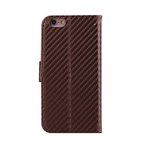 iPhone 6 Plus/6S Plus Coque, Voguecase Étui en cuir synthétique chic avec fonction support pratique pour Apple iPhone 6 Plus/6S Plus 5.5 (Fibre de carbone-Noir)de Gratuit stylet l'écran aléatoire univ Fibre de carbone-Marron