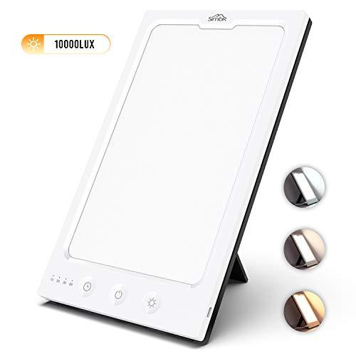 SIMBR Tageslichtlampe, Tageslichtleuchte, 10,000 Lux, Tageslichtsimulation, Lichttherapielampe gegen Müdigkeit, 3 Farbtemperatur, Mehr Heiligkeitsstufen, USB Anschluss, Touch-Taste, mit Timer, UV Frei
