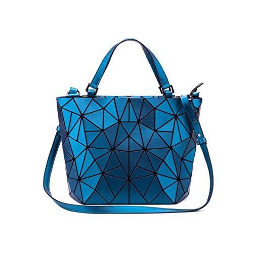 (Chenrry Geometrische Leuchtende Geldbörse und Handtaschen für Damen Holographische Tasche Top-Griff mit Reißverschluss Schließung Messenger Schulranzen Taschen NO.6)