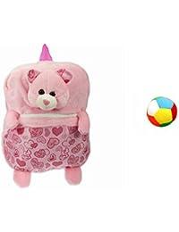 Jrp Mart Pink Print Bear Soft Toy Bag With Little Ball - B072MFHZ5V