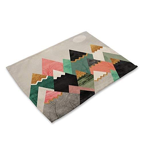 DaTun648 1 Stücke Bunte Geometrische Gedruckt Küche Tischset Esstisch Matte Coaster Baumwolle Leinen Pads Tasse Matten 42 * 32 cm Wohnkultur (Color : C) -