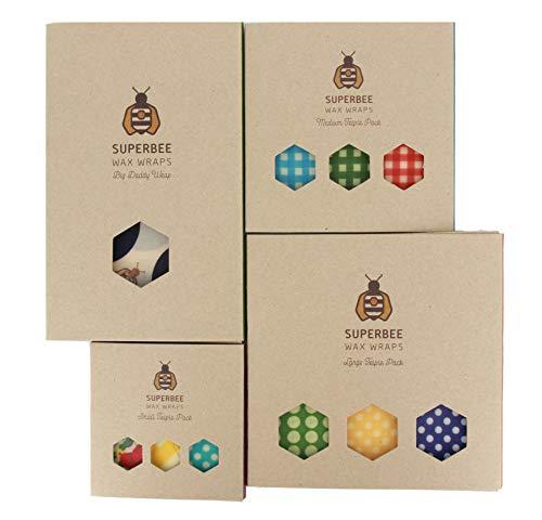 SuperBee Emballages de Cire d'Abeille | Ensemble de 10: Petit, Moyen, Grand et Extra Grand | Commerce Éthique, Emballage Alimentaire Réutilisable et Écologique | Family Pack