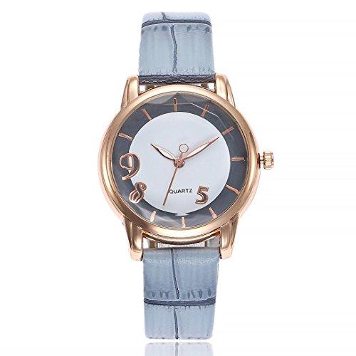 Uhren DELLIN V251 Beiläufige Quarz Lederband Newv Bügel Uhr Analoge Armbanduhr der Frauen (Blau)