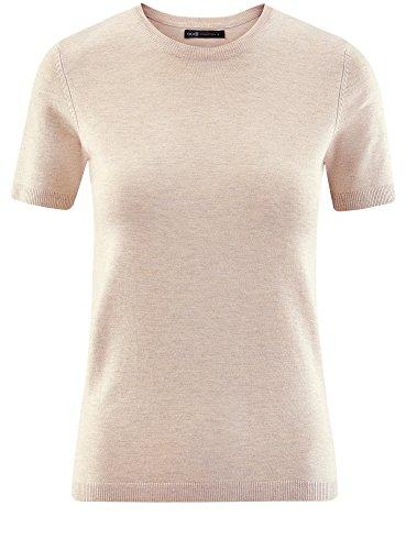 oodji Collection Damen Kurzarm-Pullover mit Rundem Ausschnitt Beige (3302M)