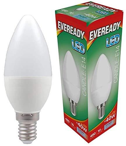 Eveready 5x 6w LED SES Opal Kerze - 480lm's - 865/6500k - Tageslicht -