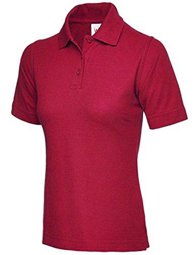 Damen Pique Polo Shirt Größe UK 8bis 26PLUS NEW Casual Sports Gym Arbeit Maroon