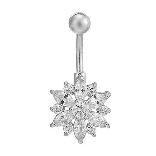 FushoP Chrysantheme Blume Zirkonia Bauchnabel Ring Nabel Piercing Körper Schmuck (Platin/Weiß)
