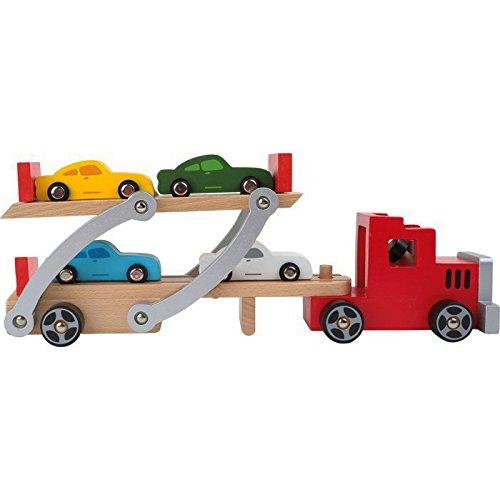 Autotransporter / LKW aus Holz mit beweglicher Laderampe, Kinderspielzeug mit abnehmbarem Anhänger und 4 bunten Autos, ab 3 Jahre