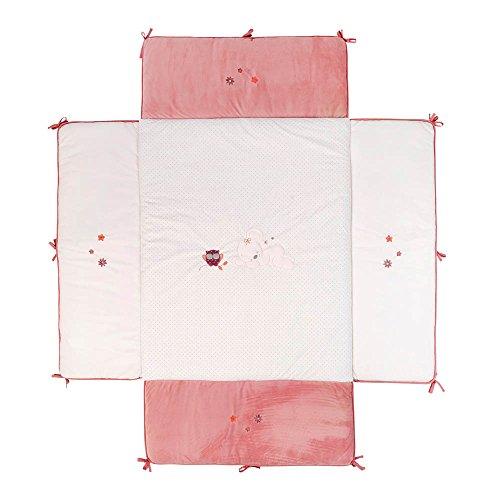 Nattou Tour de Parc avec Rembourrage Latéral, 75 x 95cm, Adèle et Valentine, Rose/Blanc