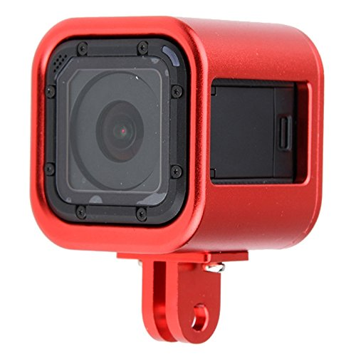 Unbekannt SPORTKAMERAKÄFIG WBD Gehäuse Shell CNC Aluminiumlegierung Schutzkäfig mit Versicherung Rückseite für GoPro HERO5 Session / HERO4 Session/Hero Session (Schwarz) (Farbe : Red) - Rote Gopro Hero4 Linse