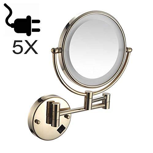 ZHAONI 5X Aumento Espejos Maquillaje De Pared con Luz LED 8 Pulgadas Espejo Tocador Espejo De Aumento...