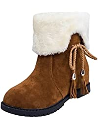 Dooxi Mujer Invierno Antideslizante Punta Redonda Nieve Botas Moda Cómodo Plano Botines Casual Calentar Forrado Zapatos