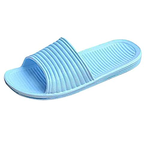 OVERMAL Bath Femmes Striped Flat Pantoufles Summer Sandals Pantoufles Indoor & Outdoor (37, Bleu Ciel)