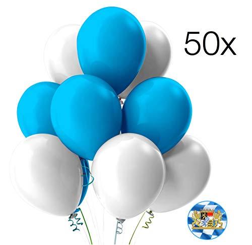TK Gruppe Timo Klingler 50x Luftballons Mix Ballons Balloons Luftballon Ballon weiß & blau als Deko Dekoration für Oktoberfest, Wiesn, Canstatter WASN,