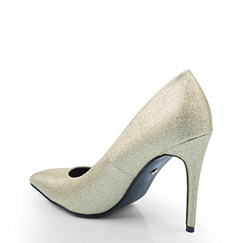 Ideal Shoes – Escarpins effetto glitter Rafaela Oro