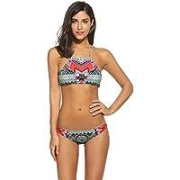 Meaneor Fashion Origin Damen Split Badeanzüge Blumendruck Streifen Bikini  Neckholder Bademode Push up Swimsuit Zweiteilige Schwimmanzug für Sommer 12b51cfc0e