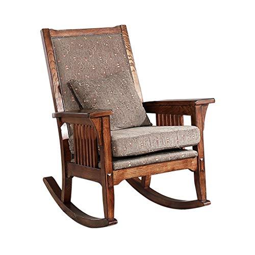 HYYTY-Y Vintage Schaukelstuhl aus massivem Holz, Baumwoll-Leinen-Kissen, Einzel-Sofa, Terrasse, Freizeit-Sessel 614-YY - Espresso Sessel