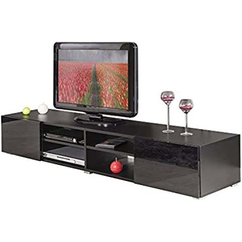 Symbiosis 3058A7612L02–Mueble para TV con 4nichos/2cajones madera negro/Laca 185x 31x 42cm