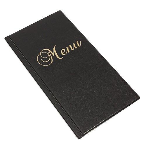 Speisekarte Langformat DIN A4 schwarz Menükarte 6 Folien 12 Seiten