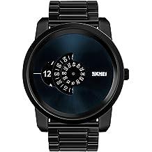 Moda Tres Diales Impermeable Dial Grande Correa de Aleación Cuarzo Relojes Juveniles Relojes Chico Relojes Hombre, Negro