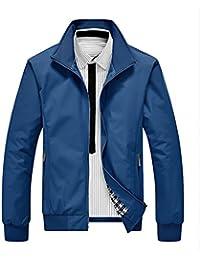 Haroty Hombres Chaqueta Slim Otoño Primavera Color Puro Casual Manga Larga Talla Grande Jacket Outwear