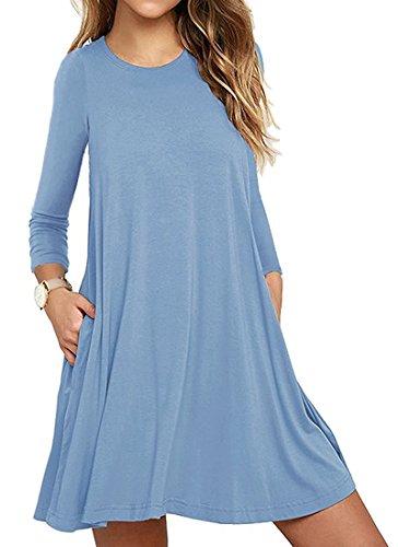 Casual Vestito da Donna Abito Maniche Lunghe Mini Abito con Tasca Dress de Cocktail Maglietta Allentata Tops Azzurro
