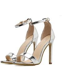 YOGLY Femme Escarpins Boucle Bout Ouvert Sandale Été Sexy Couleur Unie  Chaussures à Talons Hauts Club 2399697fd31e