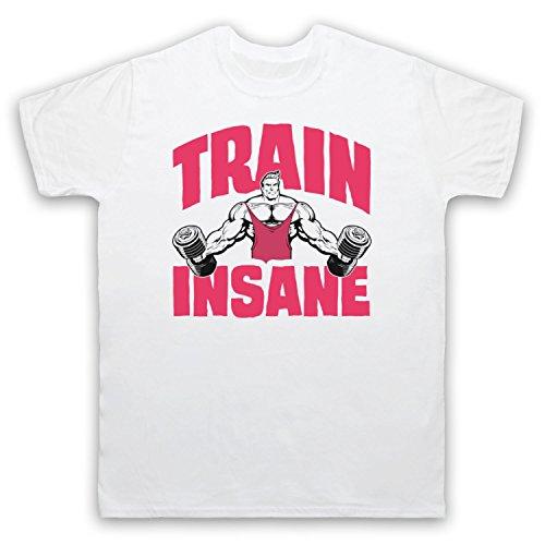 Train Insane Gym Workout Slogan Herren T-Shirt Weis