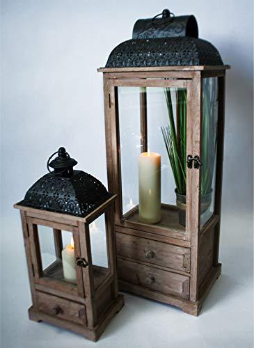NOOR Handels GmbH Holzlaternen 2er Set Laterne Holz braun Ornament Metalldach Schublade Tür 61557