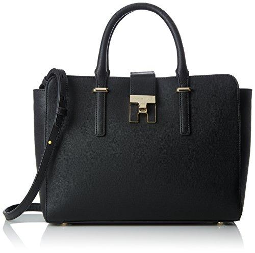 Tommy Hilfiger Damen Th Heritage Satchel Cb Clutch, Schwarz (Black), 14x32x24 cm (Satchel Tasche Handtasche)