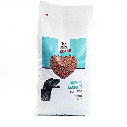 DOGS-HEART Forelle & Kartoffel 15 kg, Getreidefreies Hypoallergenes Hundefutter, Bestes Futter ohne künstliche Zusätze mit Mineralien und Vitaminen für gute Verdauung, starke Knochen und glänzendes Fell - Hundetrockenfutter ohne Zucker, Mais oder Weizen