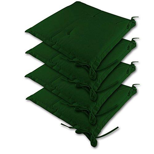 Detex® Stuhlauflagen Kissen Sitzkissen Stuhlkissen Sydney Hochlehner Auflage Sitzauflage ✓ 4er Set Grün Farbauswahl