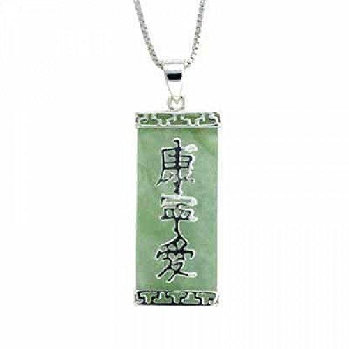 Jade-armreif Echte (Spiritueller Ketten-Anhänger aus grüner Jade mit chinesischen Zeichen - Sterling Silber)