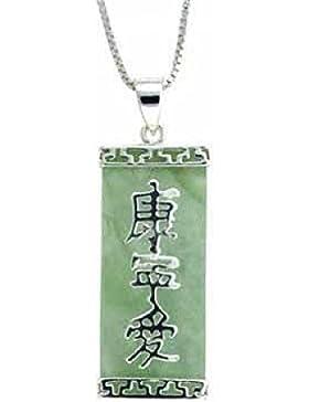Spiritueller Ketten-Anhänger aus grüner Jade mit chinesischen Zeichen - Sterling Silber
