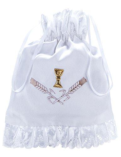 Princess Taufkleid Brautbeutel aus Satin in Weiß und Ivory Weiß/Gold