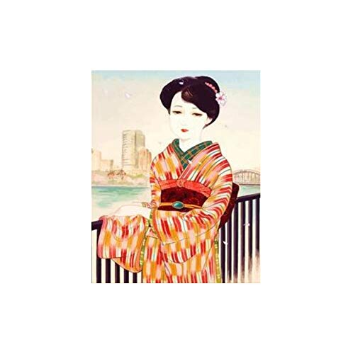 Y japanische kostüm Kimono schönheit leinwand handgefertigte Japan wandkunst Bild für wohnkultur Erwachsene 40x50 cm kein Rahmen ()
