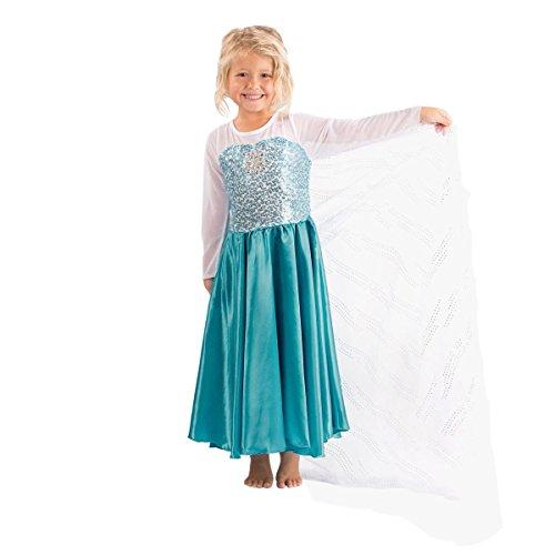 Imagen de katara  vestido inspirado por elsa de frozen y otras princesas disney, traje de disfraz de gala para niñas con lentejuelas y tren de tul, azul y blanco  7 8 años alternativa