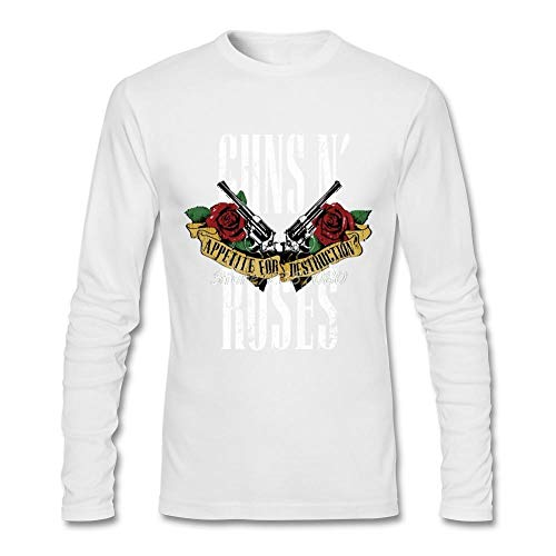 OBHDGVWN Guns N Roses T-Shirt Langarm Herren T-Shirt Hip Hop Lustige Baumwolle Rundhals 3D T-Shirts @ White_L