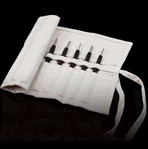 qees Heavy Duty Leinwand Meißel und Messer-Rolle mit 12Slots für Künstler Geschenk 40,6x 25,4cm Zoll qdb02, weiß (Die Japanische Weiß-stahl-kochmesser)