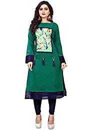 Mansa Designer Women's Soft Crepe Stitched Long Kurtis With Wooden Button And Silk Jhumka