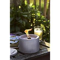 Beske-Betonfeuer mit 'Dauerdocht' | Durchmesser 14cm 'gerade' | Wiederbefüllbare Gartenfackel | 'Unendliche' Brenndauer durch umweltfreundliches Recycling von Kerzenwachs