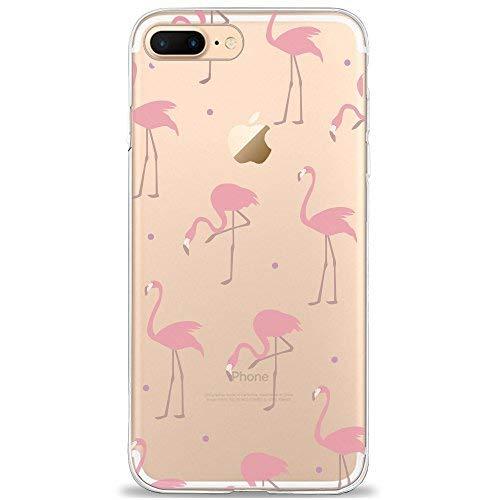 DAPP® kompatibel mit iPhone 7 Plus / 8 Plus Hülle, Dolce Vita Serie Transparente Silikon Handyhülle für Damen/Mädchen, Durchsichtig mit Rot Rosa Flamingo Muster