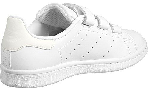 adidas Unisex-Kinder Stan Smith Cf J Sneaker Weiß (White)