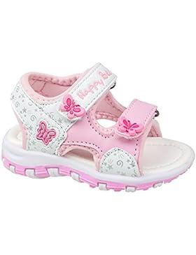 GIBRA® Sandalen für Kinder, mit Klettverschluss, weiß/rosa, Gr. 25-30