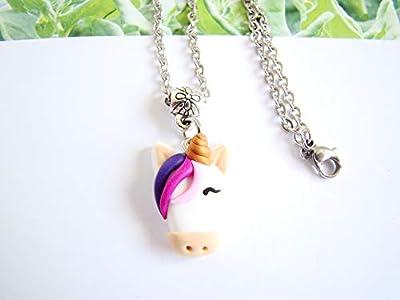 Collier licorne bijou enfant pate fimo cheval blanc rose violet