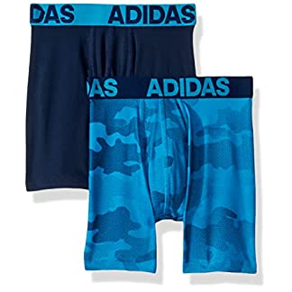 adidas Boys / Youth Sport Performance Climalite Boxer Brief Underwear (2-Pack), camo/solar blue/collegiate navy, Small