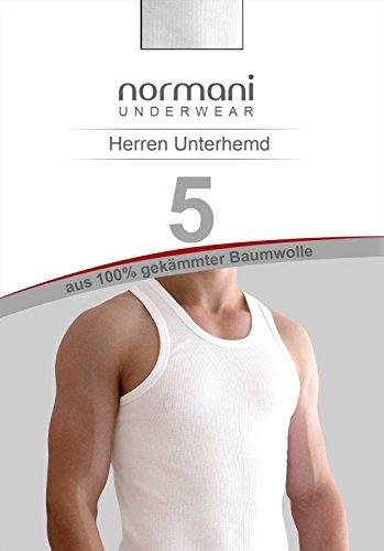 5 x Tank Top Weiß - Herren Unterhemd Feinripp (glatt) - Sportjacke - 100 % gekämmte Baumwolle - Highest Standard - einlaufvorbehandelt - Original normani® Exclusive Weiß