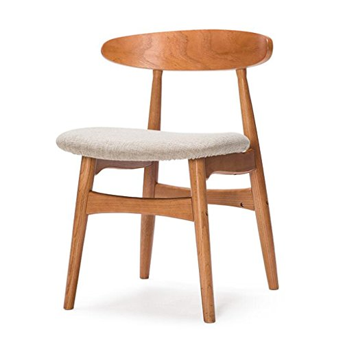 Rollsnownow Coussin gris à manger chaise en bois massif dossier chaise chaise de bureau bureau et chaise Cafe tables et chaises rétro (Color : Red rubber color)